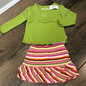 Children's Place Striped Skort and Ruffle shirt